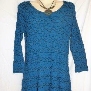 Tianello Top S Livia Teal Jersey Knit Tunic E230